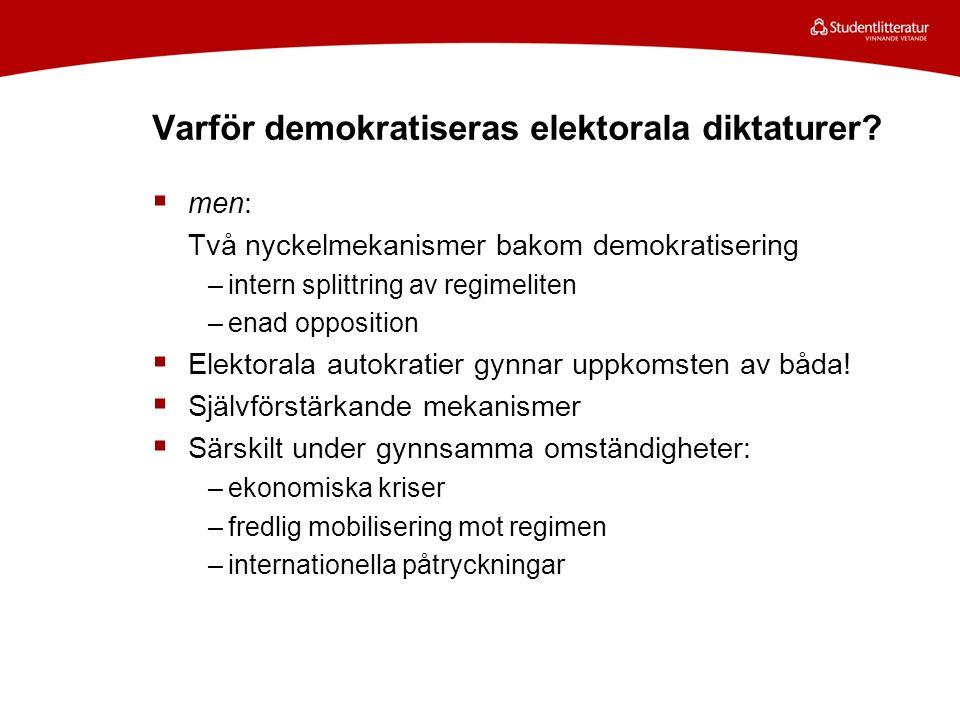 Varför demokratiseras elektorala diktaturer.