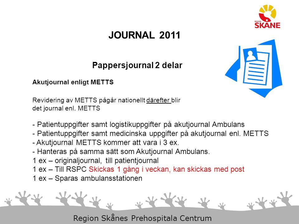 11-Dec-14 Slide 18 Region Skånes Prehospitala Centrum JOURNAL 2011 Pappersjournal 2 delar Akutjournal enligt METTS Revidering av METTS pågår nationellt därefter blir det journal enl.