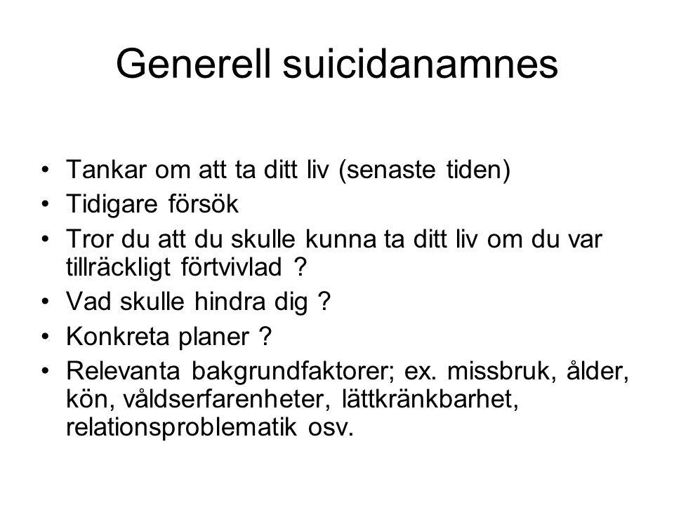Generell suicidanamnes Tankar om att ta ditt liv (senaste tiden) Tidigare försök Tror du att du skulle kunna ta ditt liv om du var tillräckligt förtvi
