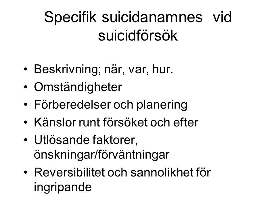 Specifik suicidanamnes vid suicidförsök Beskrivning; när, var, hur. Omständigheter Förberedelser och planering Känslor runt försöket och efter Utlösan