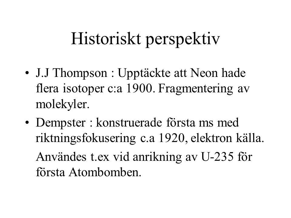 Historiskt perspektiv J.J Thompson : Upptäckte att Neon hade flera isotoper c:a 1900.