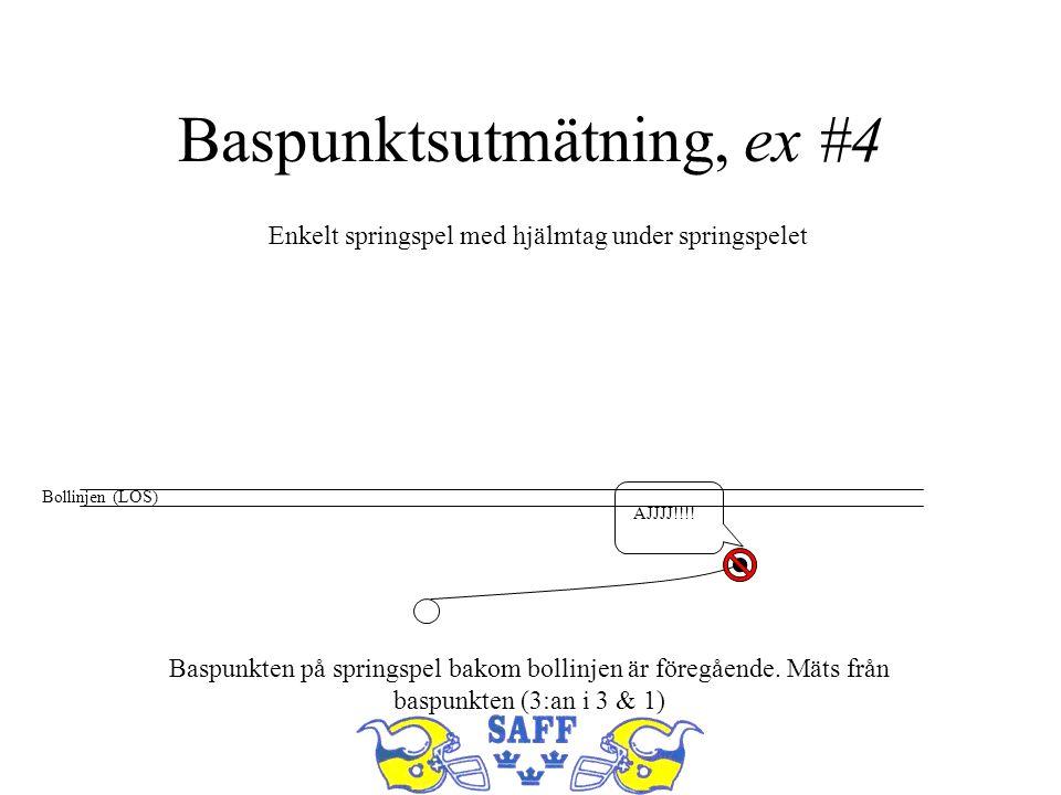 Baspunktsutmätning, ex #4 Bollinjen (LOS) AJJJJ!!!! Enkelt springspel med hjälmtag under springspelet Baspunkten på springspel bakom bollinjen är före