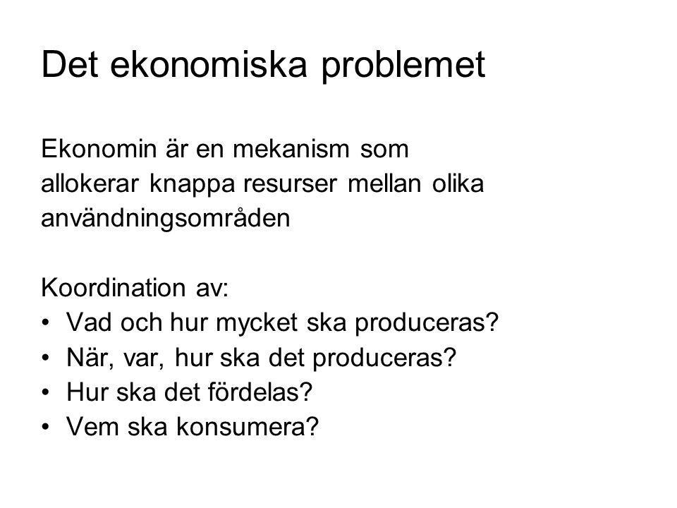 Det ekonomiska problemet Ekonomin är en mekanism som allokerar knappa resurser mellan olika användningsområden Koordination av: Vad och hur mycket ska