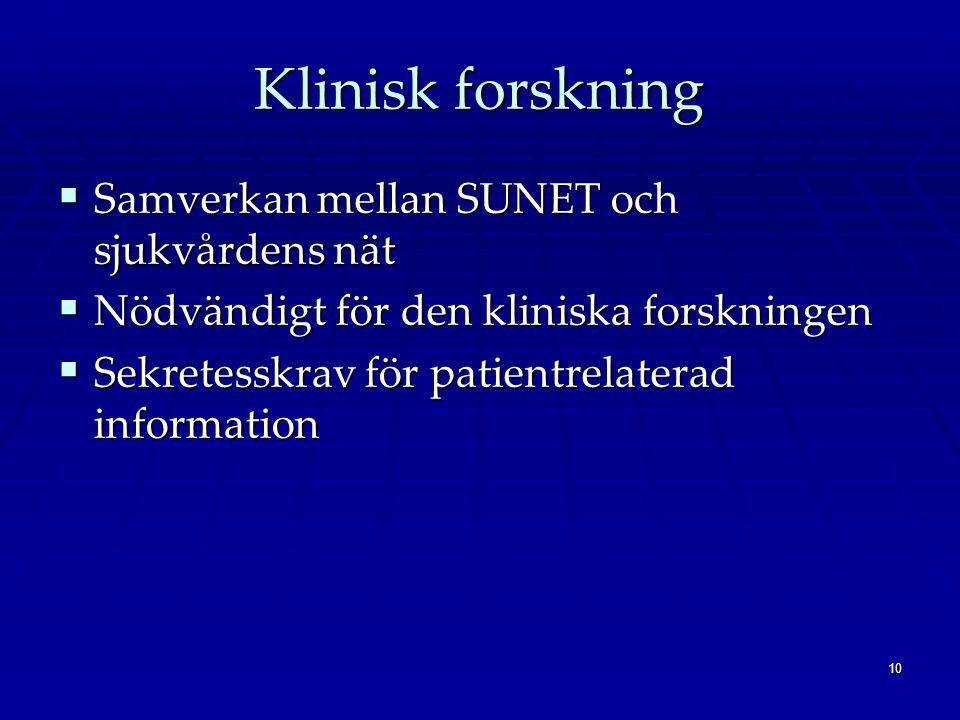 10 Klinisk forskning  Samverkan mellan SUNET och sjukvårdens nät  Nödvändigt för den kliniska forskningen  Sekretesskrav för patientrelaterad information
