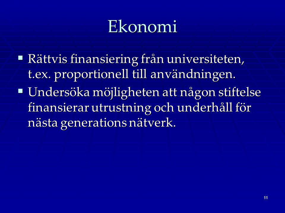 11 Ekonomi  Rättvis finansiering från universiteten, t.ex. proportionell till användningen.  Undersöka möjligheten att någon stiftelse finansierar u