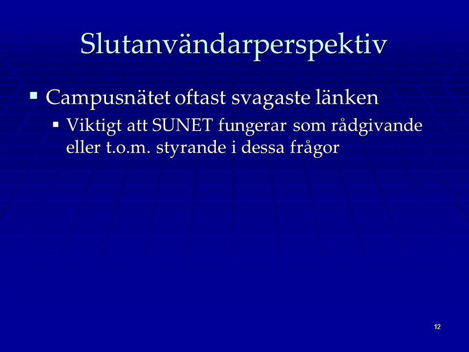 12 Slutanvändarperspektiv  Campusnätet oftast svagaste länken  Viktigt att SUNET fungerar som rådgivande eller t.o.m.