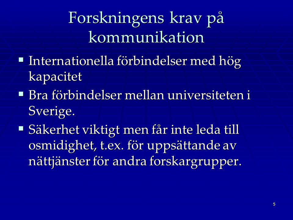 5 Forskningens krav på kommunikation  Internationella förbindelser med hög kapacitet  Bra förbindelser mellan universiteten i Sverige.  Säkerhet vi