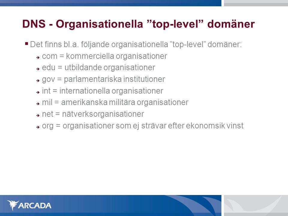 """DNS - Organisationella """"top-level"""" domäner  Det finns bl.a. följande organisationella """"top-level"""" domäner:  com = kommerciella organisationer  edu"""