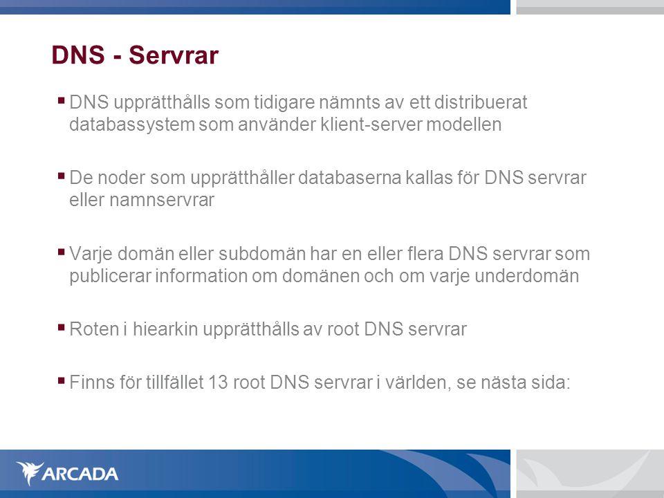 DNS - Servrar  DNS upprätthålls som tidigare nämnts av ett distribuerat databassystem som använder klient-server modellen  De noder som upprätthåller databaserna kallas för DNS servrar eller namnservrar  Varje domän eller subdomän har en eller flera DNS servrar som publicerar information om domänen och om varje underdomän  Roten i hiearkin upprätthålls av root DNS servrar  Finns för tillfället 13 root DNS servrar i världen, se nästa sida: