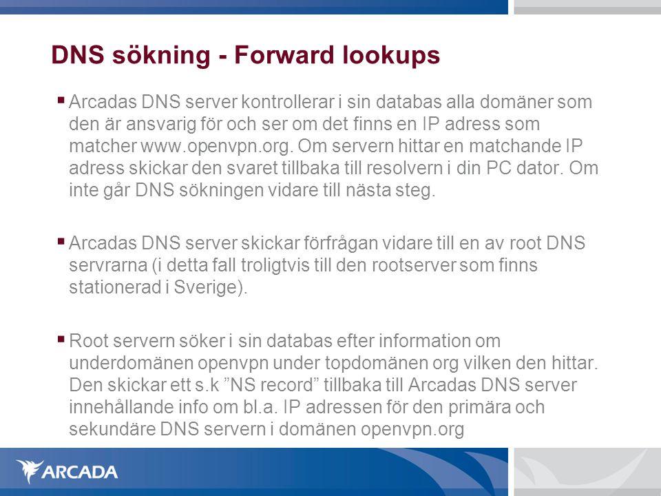 DNS sökning - Forward lookups  Arcadas DNS server kontrollerar i sin databas alla domäner som den är ansvarig för och ser om det finns en IP adress som matcher www.openvpn.org.