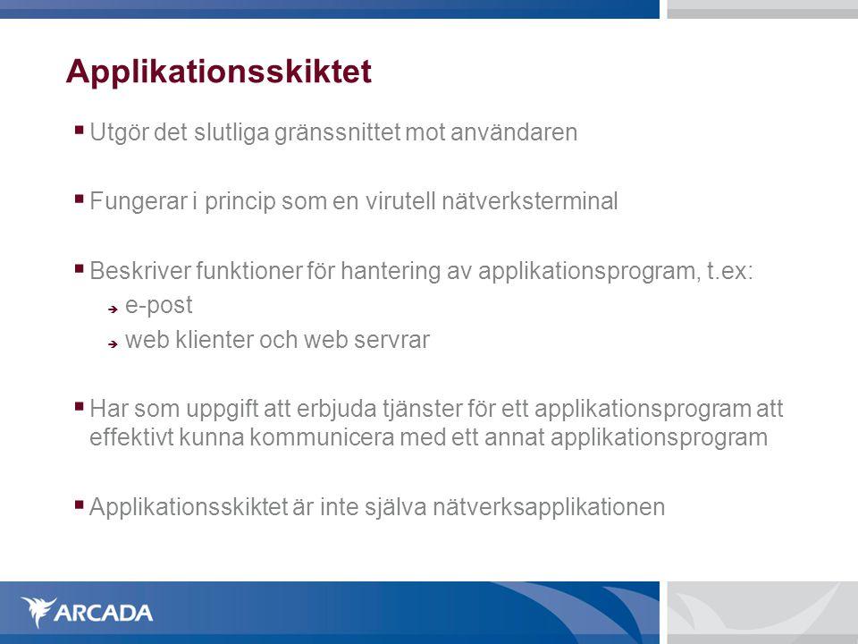 Applikationsskiktet  Utgör det slutliga gränssnittet mot användaren  Fungerar i princip som en virutell nätverksterminal  Beskriver funktioner för hantering av applikationsprogram, t.ex:  e-post  web klienter och web servrar  Har som uppgift att erbjuda tjänster för ett applikationsprogram att effektivt kunna kommunicera med ett annat applikationsprogram  Applikationsskiktet är inte själva nätverksapplikationen