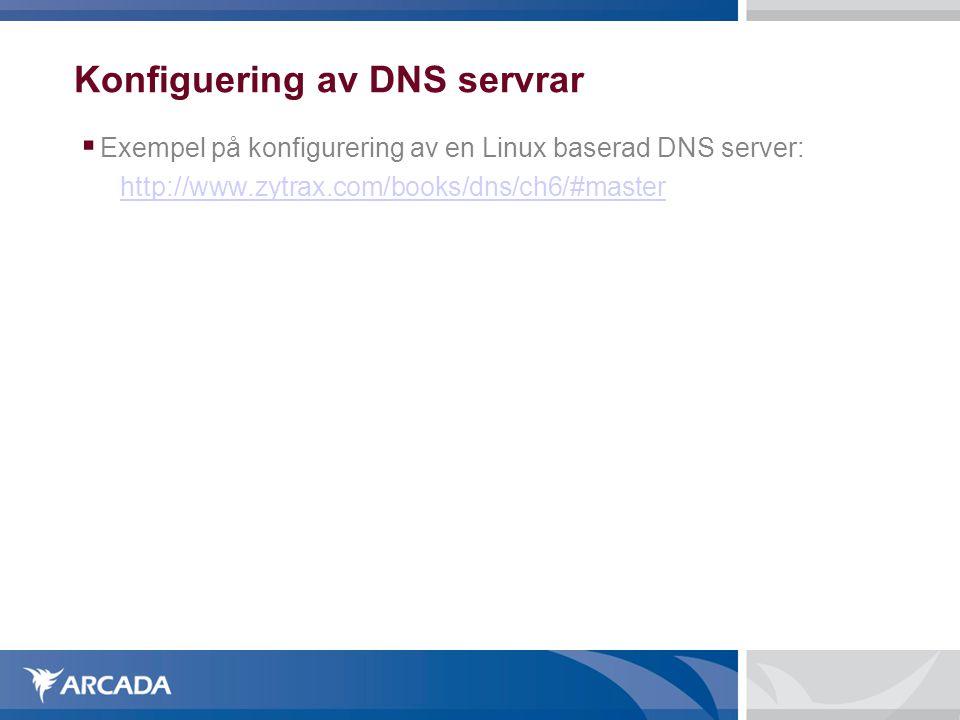 Konfiguering av DNS servrar  Exempel på konfigurering av en Linux baserad DNS server: http://www.zytrax.com/books/dns/ch6/#master