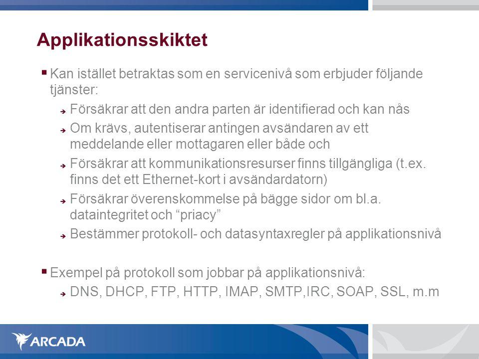 Applikationsskiktet  Kan istället betraktas som en servicenivå som erbjuder följande tjänster:  Försäkrar att den andra parten är identifierad och k