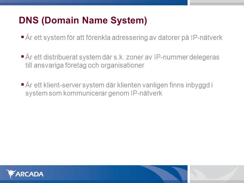 DNS (Domain Name System)  Är ett system för att förenkla adressering av datorer på IP-nätverk  Är ett distribuerat system där s.k. zoner av IP-numm