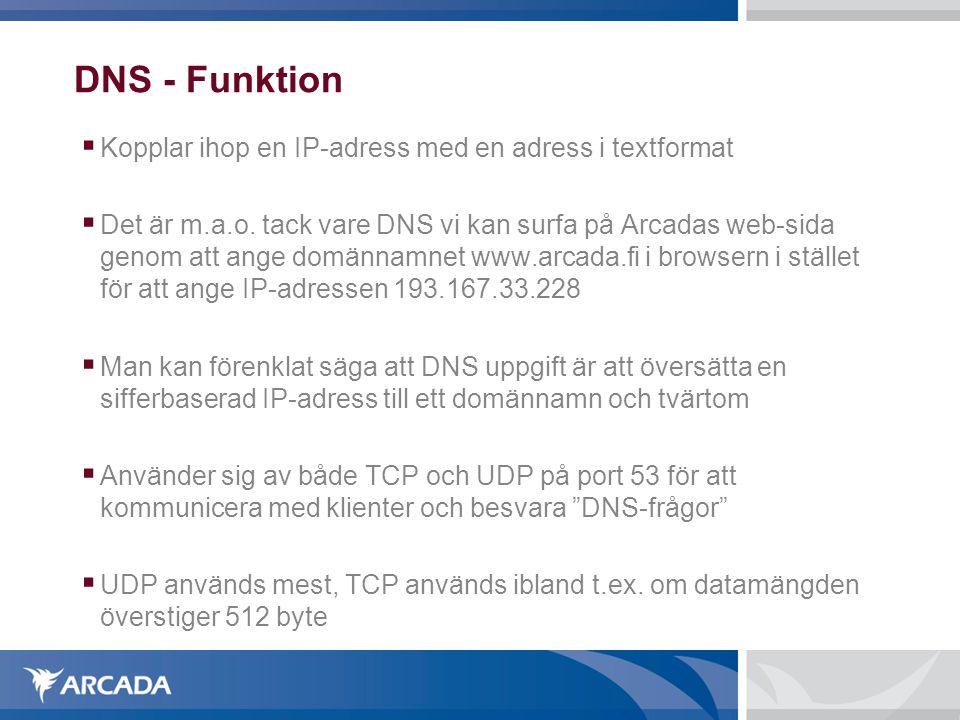 DNS - Funktion  Kopplar ihop en IP-adress med en adress i textformat  Det är m.a.o. tack vare DNS vi kan surfa på Arcadas web-sida genom att ange do