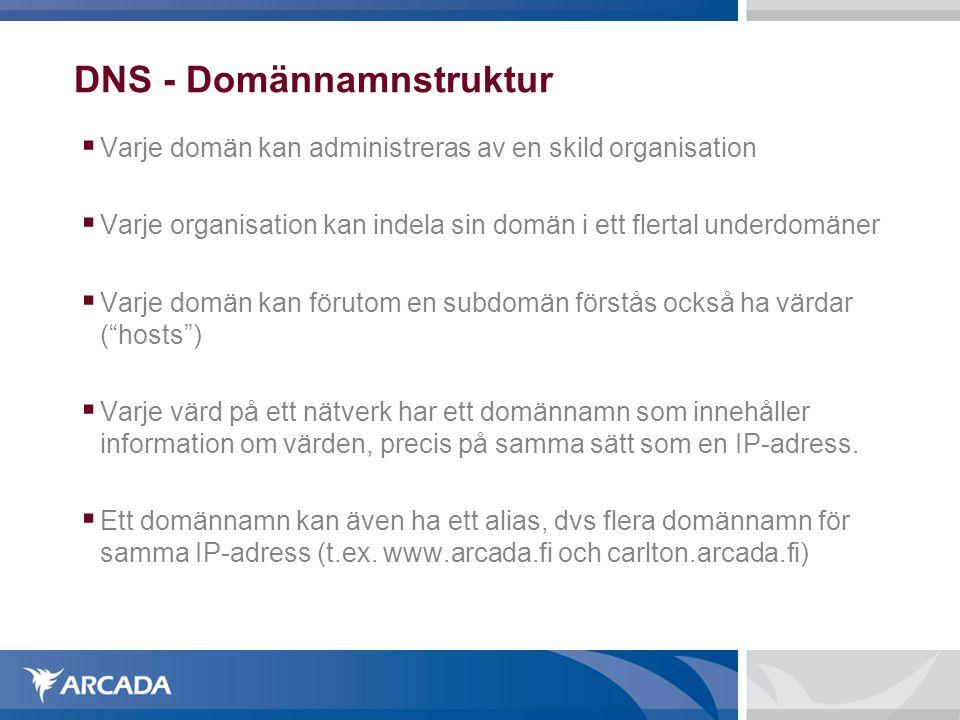 DNS - Domännamnstruktur  Varje domän kan administreras av en skild organisation  Varje organisation kan indela sin domän i ett flertal underdomäner  Varje domän kan förutom en subdomän förstås också ha värdar ( hosts )  Varje värd på ett nätverk har ett domännamn som innehåller information om värden, precis på samma sätt som en IP-adress.