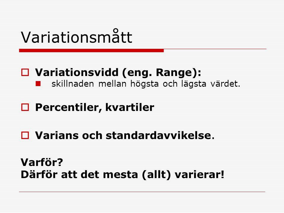 Variationsmått  Variationsvidd (eng. Range): skillnaden mellan högsta och lägsta värdet.  Percentiler, kvartiler  Varians och standardavvikelse. Va