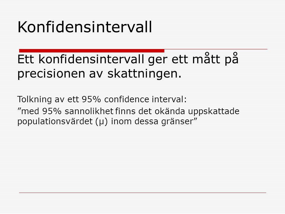 "Konfidensintervall Ett konfidensintervall ger ett mått på precisionen av skattningen. Tolkning av ett 95% confidence interval: ""med 95% sannolikhet fi"