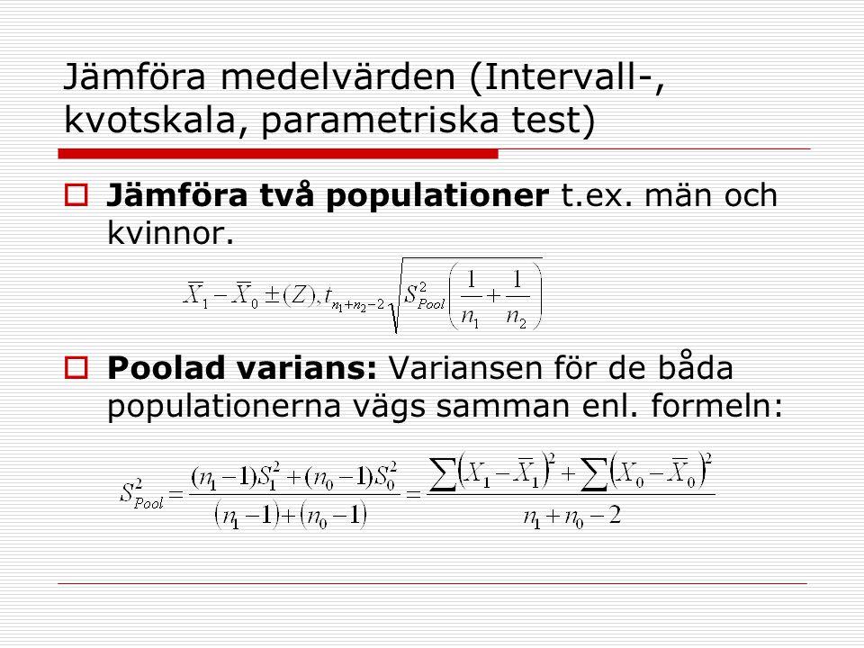 Jämföra medelvärden (Intervall-, kvotskala, parametriska test)  Jämföra två populationer t.ex. män och kvinnor.  Poolad varians: Variansen för de bå