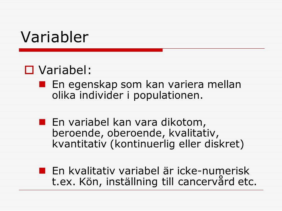 Variabler  Variabel: En egenskap som kan variera mellan olika individer i populationen. En variabel kan vara dikotom, beroende, oberoende, kvalitativ