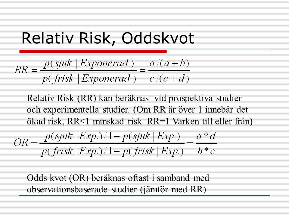 Relativ Risk, Oddskvot Relativ Risk (RR) kan beräknas vid prospektiva studier och experimentella studier. (Om RR är över 1 innebär det ökad risk, RR<1