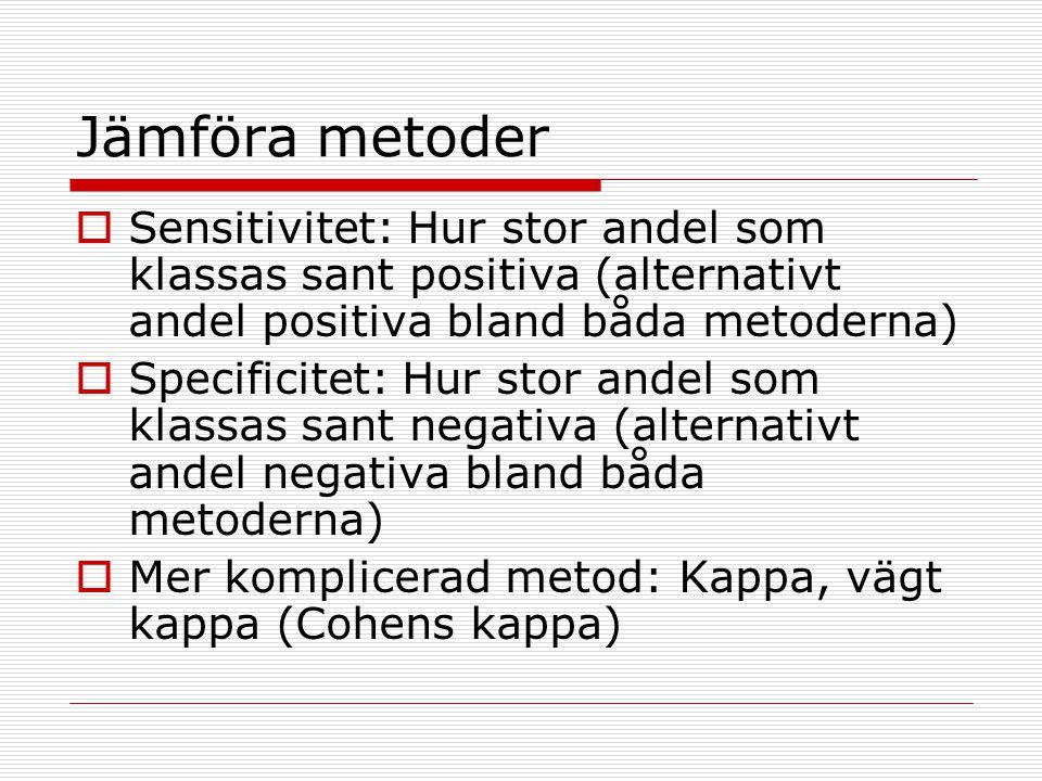 Jämföra metoder  Sensitivitet: Hur stor andel som klassas sant positiva (alternativt andel positiva bland båda metoderna)  Specificitet: Hur stor an