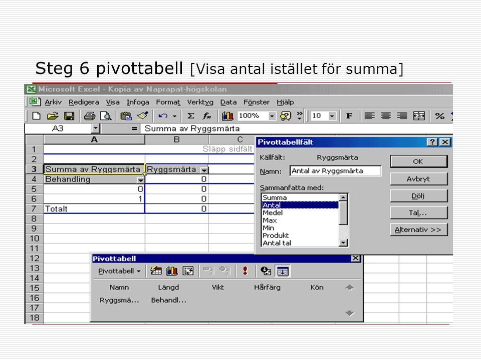 Steg 6 pivottabell [Visa antal istället för summa]