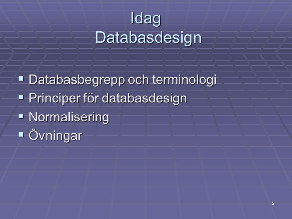 2 Idag Databasdesign  Databasbegrepp och terminologi  Principer för databasdesign  Normalisering  Övningar