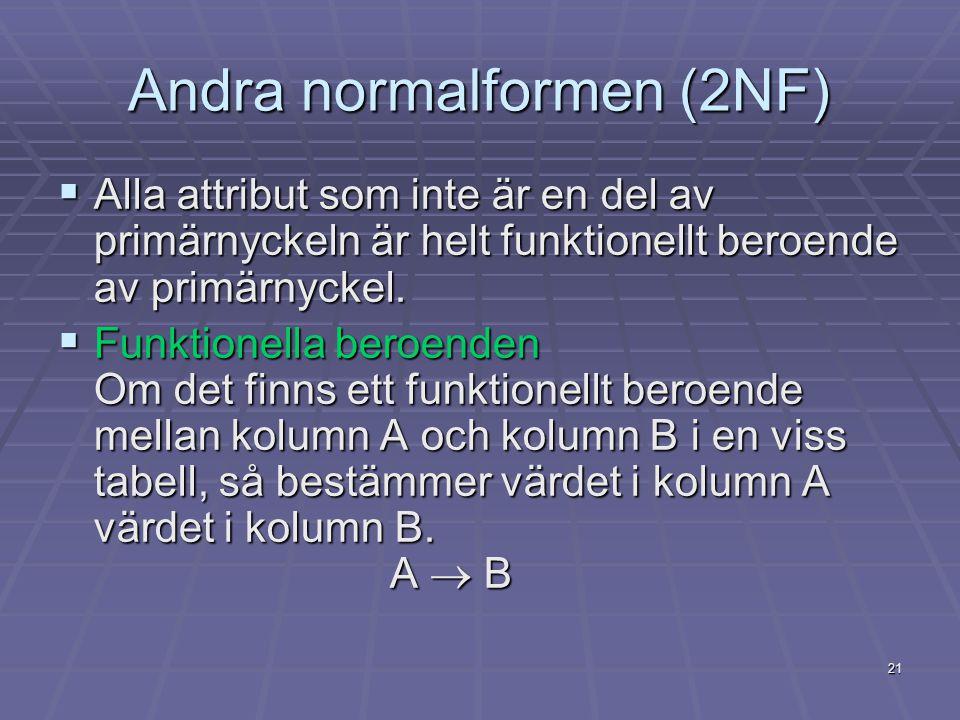 21 Andra normalformen (2NF)  Alla attribut som inte är en del av primärnyckeln är helt funktionellt beroende av primärnyckel.  Funktionella beroende