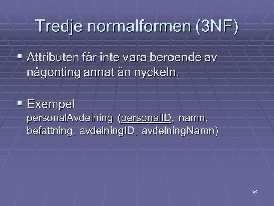 24 Tredje normalformen (3NF)  Attributen får inte vara beroende av någonting annat än nyckeln.  Exempel personalAvdelning (personalID, namn, befattn