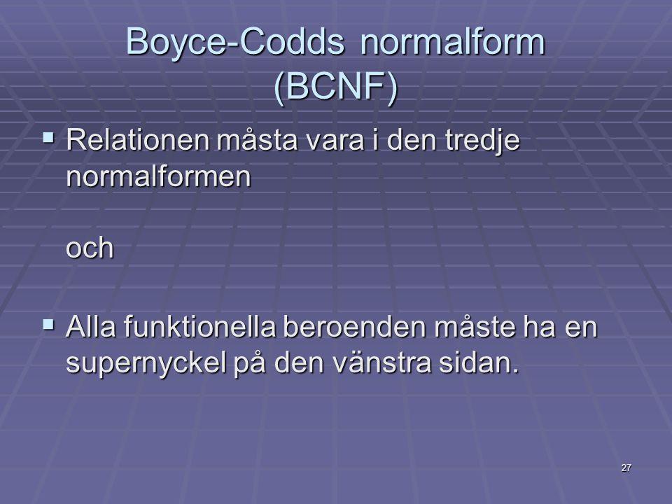 27 Boyce-Codds normalform (BCNF)  Relationen måsta vara i den tredje normalformen och  Alla funktionella beroenden måste ha en supernyckel på den vä