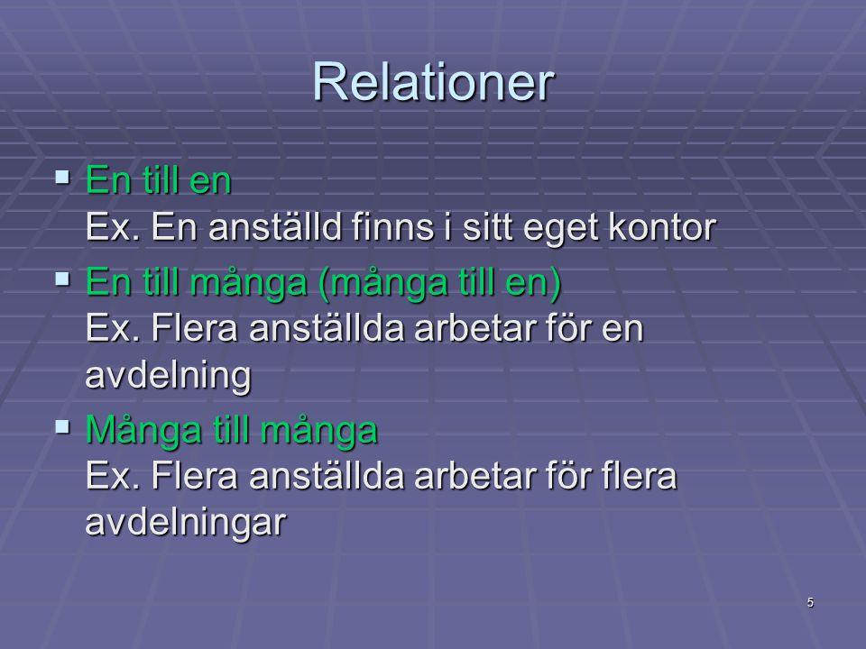 5 Relationer  En till en Ex. En anställd finns i sitt eget kontor  En till många (många till en) Ex. Flera anställda arbetar för en avdelning  Mång