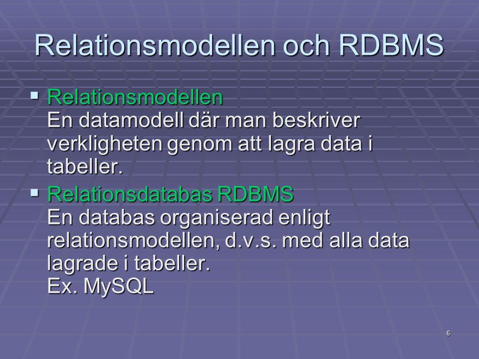 6 Relationsmodellen och RDBMS  Relationsmodellen En datamodell där man beskriver verkligheten genom att lagra data i tabeller.  Relationsdatabas RDB