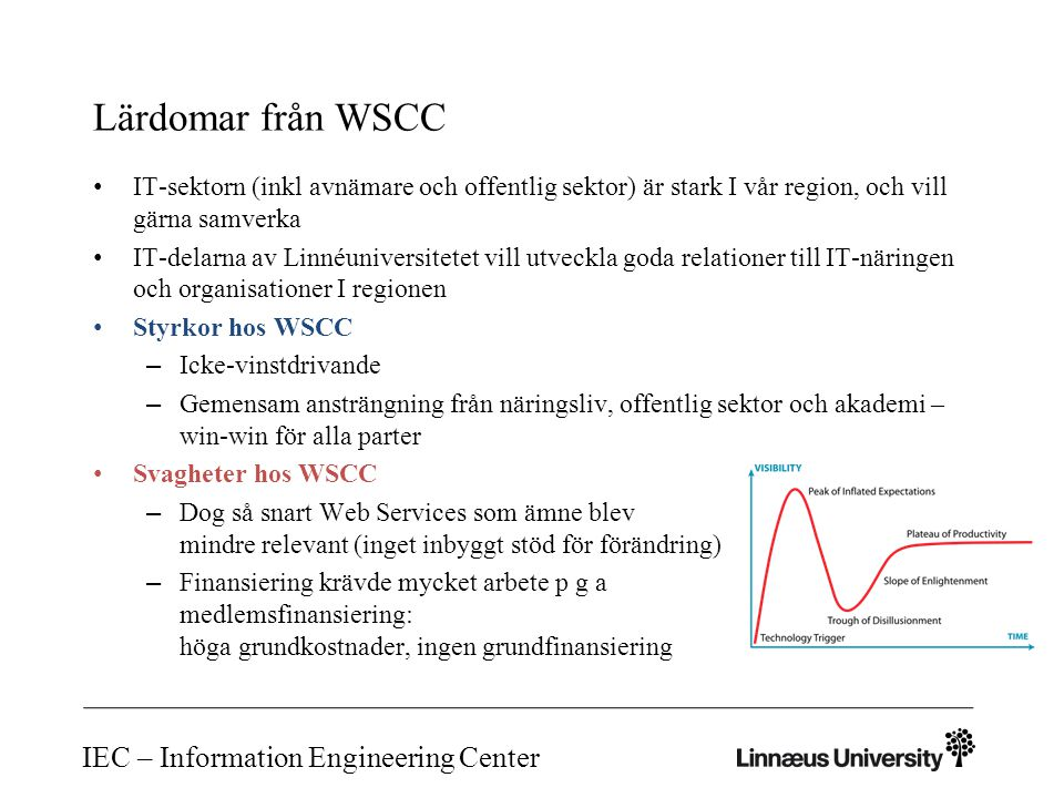 Lärdomar från WSCC IT-sektorn (inkl avnämare och offentlig sektor) är stark I vår region, och vill gärna samverka IT-delarna av Linnéuniversitetet vill utveckla goda relationer till IT-näringen och organisationer I regionen Styrkor hos WSCC – Icke-vinstdrivande – Gemensam ansträngning från näringsliv, offentlig sektor och akademi – win-win för alla parter Svagheter hos WSCC – Dog så snart Web Services som ämne blev mindre relevant (inget inbyggt stöd för förändring) – Finansiering krävde mycket arbete p g a medlemsfinansiering: höga grundkostnader, ingen grundfinansiering