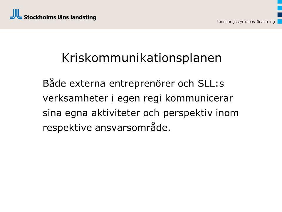 Landstingsstyrelsens förvaltning Kriskommunikationsplanen Både externa entreprenörer och SLL:s verksamheter i egen regi kommunicerar sina egna aktivit