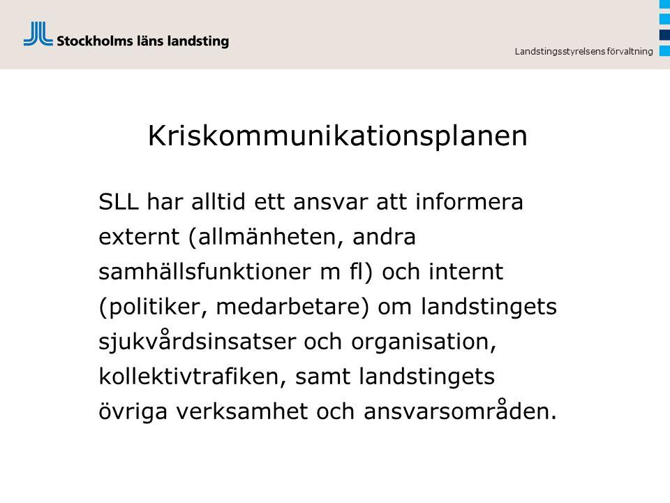 Landstingsstyrelsens förvaltning Kriskommunikationsplanen SLL har alltid ett ansvar att informera externt (allmänheten, andra samhällsfunktioner m fl)