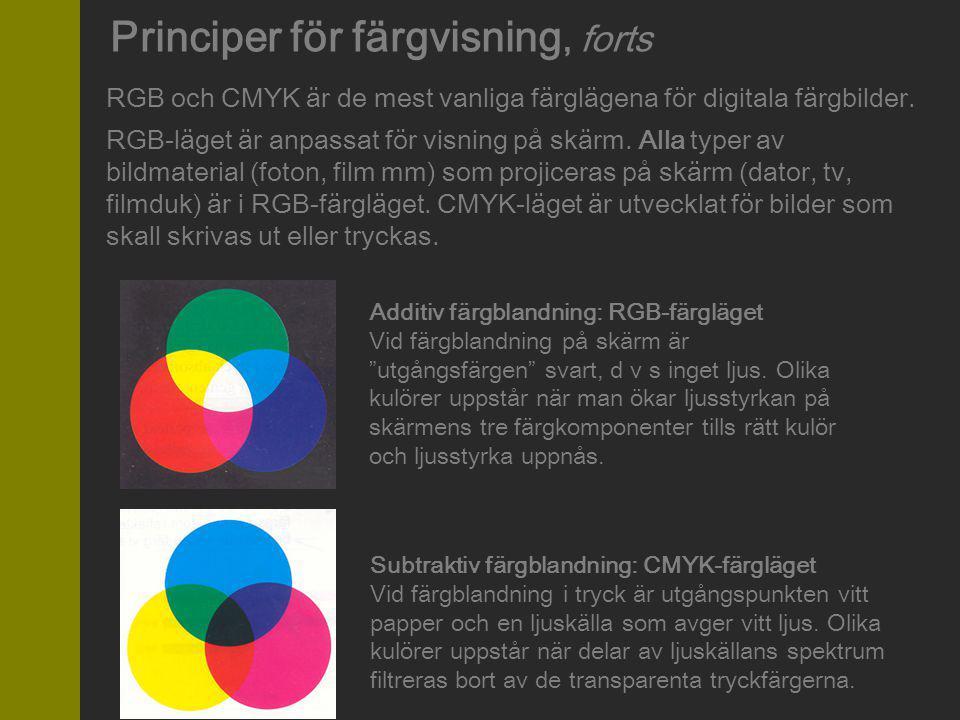 RGB-läget är anpassat för visning på skärm. Alla typer av bildmaterial (foton, film mm) som projiceras på skärm (dator, tv, filmduk) är i RGB-färgläge
