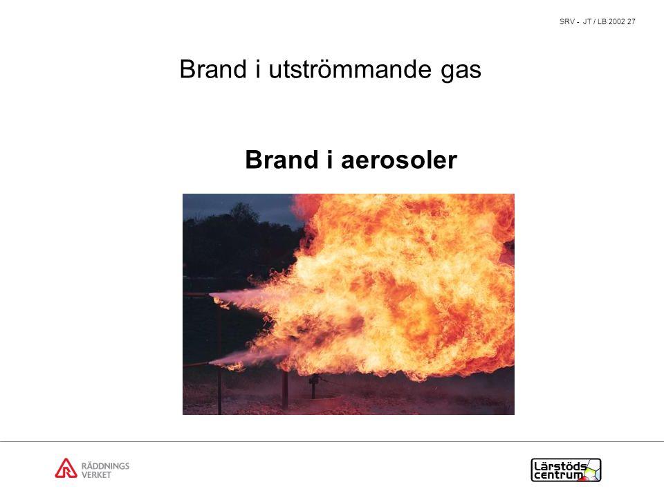 SRV - JT / LB 2002 27 Brand i aerosoler Brand i utströmmande gas