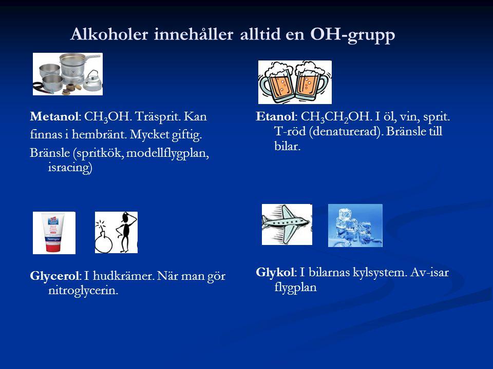 Alkoholer innehåller alltid en OH-grupp Metanol: CH 3 OH. Träsprit. Kan finnas i hembränt. Mycket giftig. Bränsle (spritkök, modellflygplan, isracing)