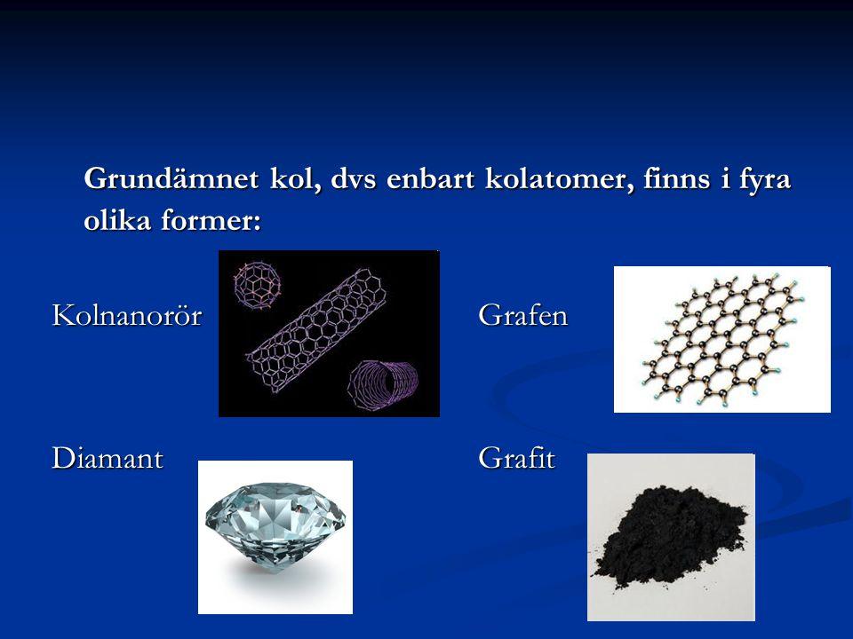 Grundämnet kol, dvs enbart kolatomer, finns i fyra olika former: KolnanorörGrafen DiamantGrafit Fullerener (bl.a. kolnanorör)Grafen