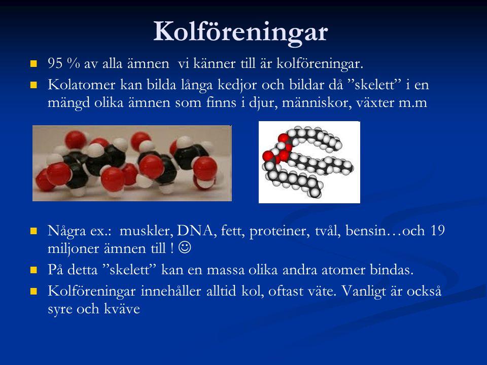 Kolväten Består av enbart kolatomer och väteatomer.