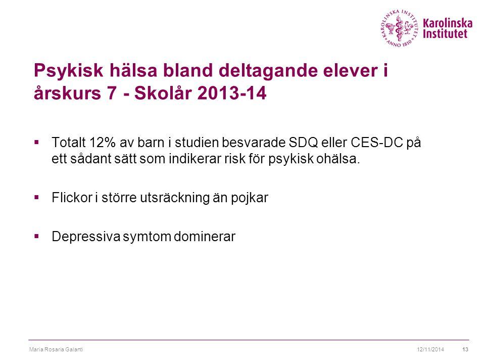 Psykisk hälsa bland deltagande elever i årskurs 7 - Skolår 2013-14  Totalt 12% av barn i studien besvarade SDQ eller CES-DC på ett sådant sätt som indikerar risk för psykisk ohälsa.