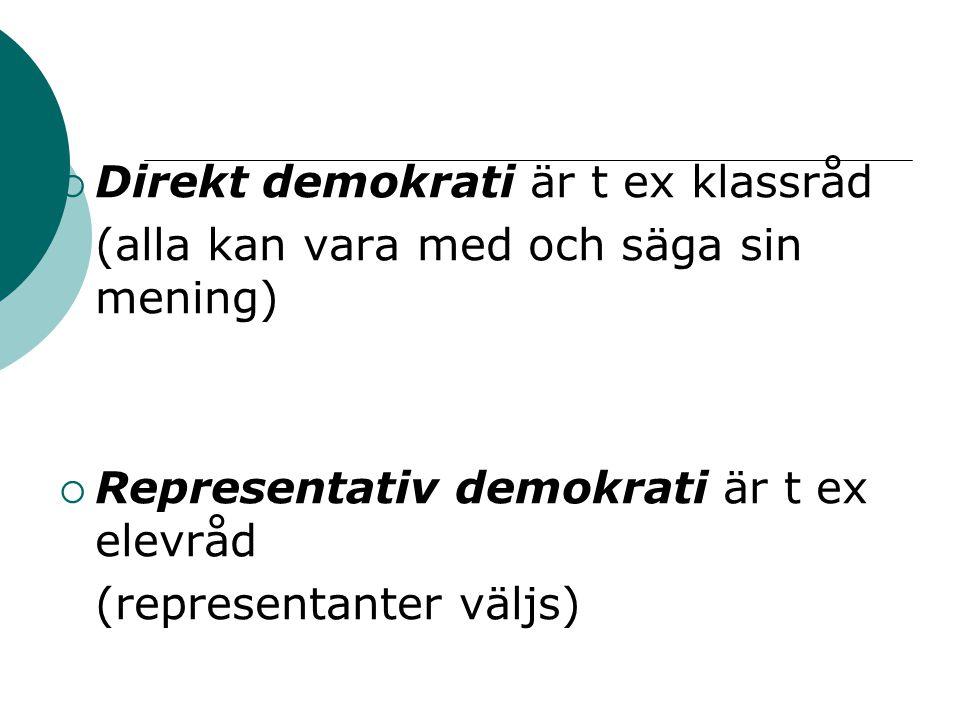  Direkt demokrati är t ex klassråd (alla kan vara med och säga sin mening)  Representativ demokrati är t ex elevråd (representanter väljs)