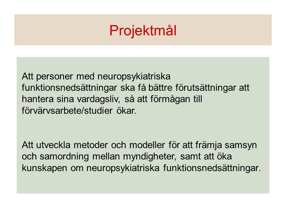 Att personer med neuropsykiatriska funktionsnedsättningar ska få bättre förutsättningar att hantera sina vardagsliv, så att förmågan till förvärvsarbe