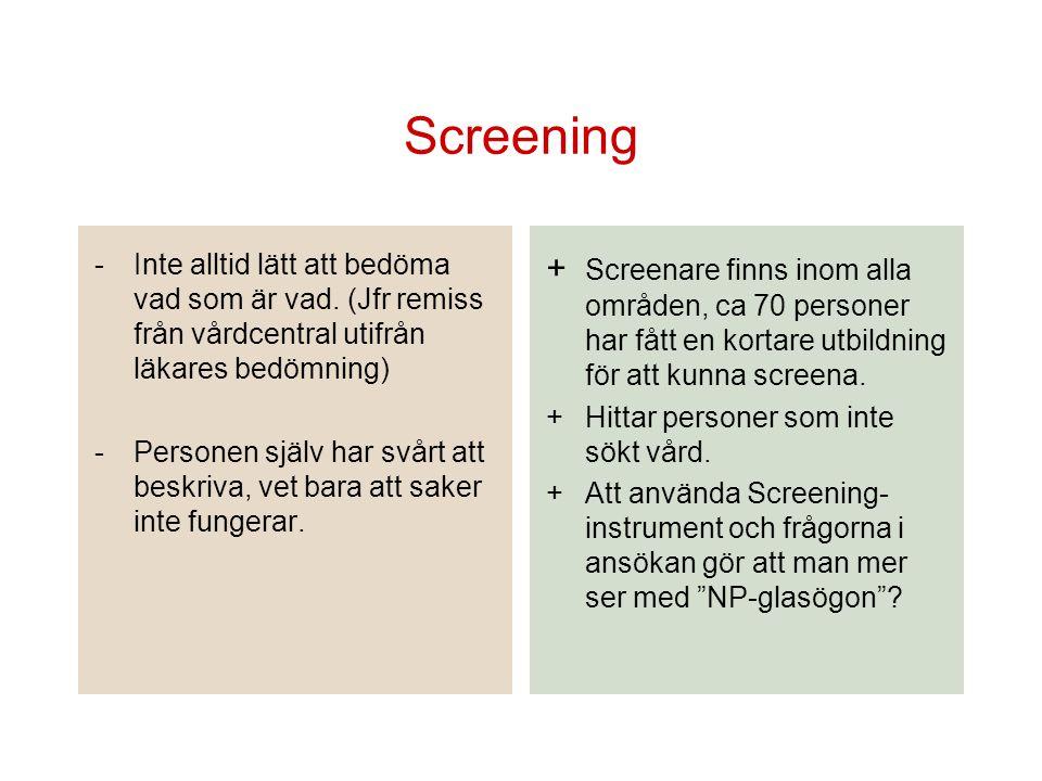 Screening -Inte alltid lätt att bedöma vad som är vad. (Jfr remiss från vårdcentral utifrån läkares bedömning) -Personen själv har svårt att beskriva,
