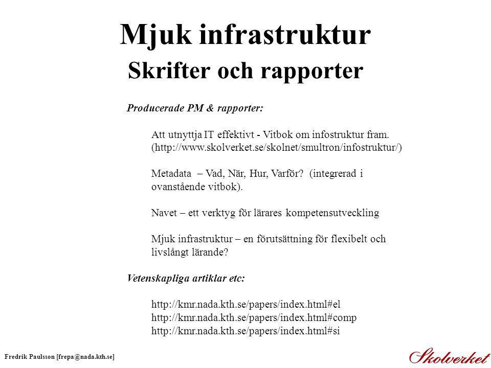 Mjuk infrastruktur Skrifter och rapporter Producerade PM & rapporter: Att utnyttja IT effektivt - Vitbok om infostruktur fram.