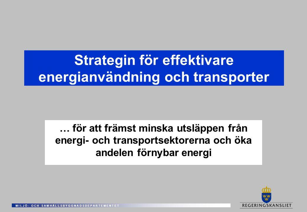 M I L J Ö - O C H S A M H Ä L L S B Y G G N A D S D E P A R T E M E N T E T Strategin för effektivare energianvändning och transporter … för att främst minska utsläppen från energi- och transportsektorerna och öka andelen förnybar energi