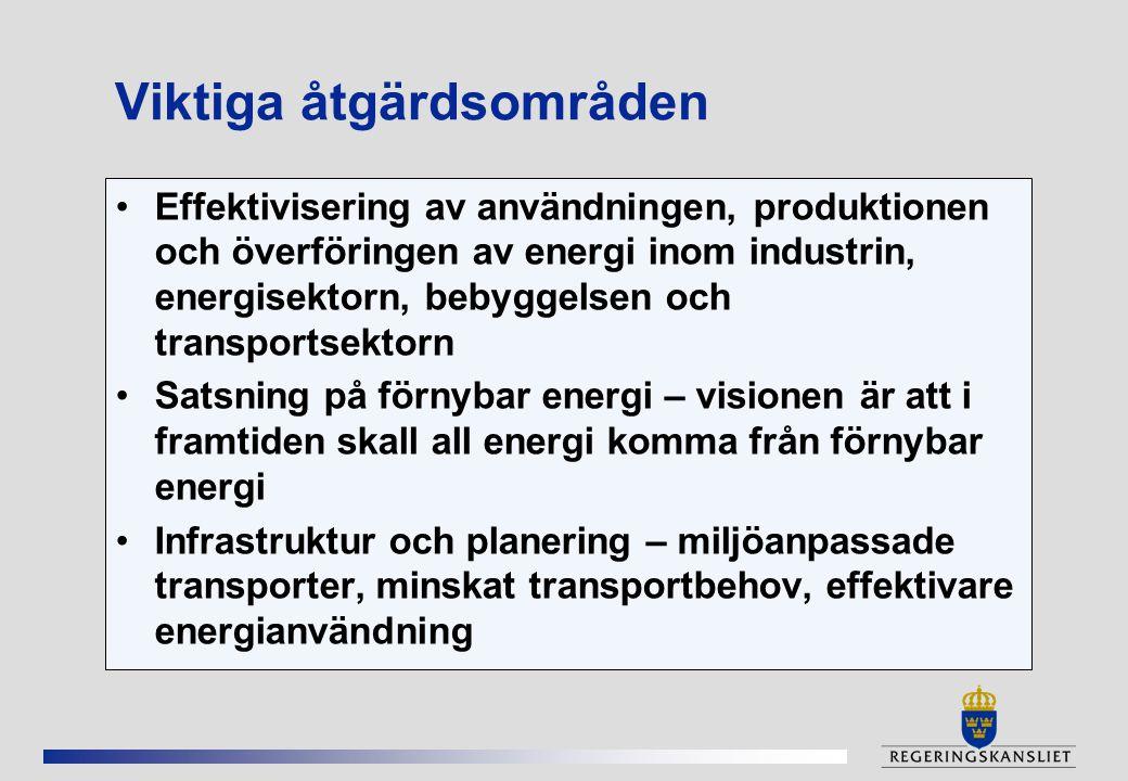 Viktiga åtgärdsområden Effektivisering av användningen, produktionen och överföringen av energi inom industrin, energisektorn, bebyggelsen och transportsektorn Satsning på förnybar energi – visionen är att i framtiden skall all energi komma från förnybar energi Infrastruktur och planering – miljöanpassade transporter, minskat transportbehov, effektivare energianvändning