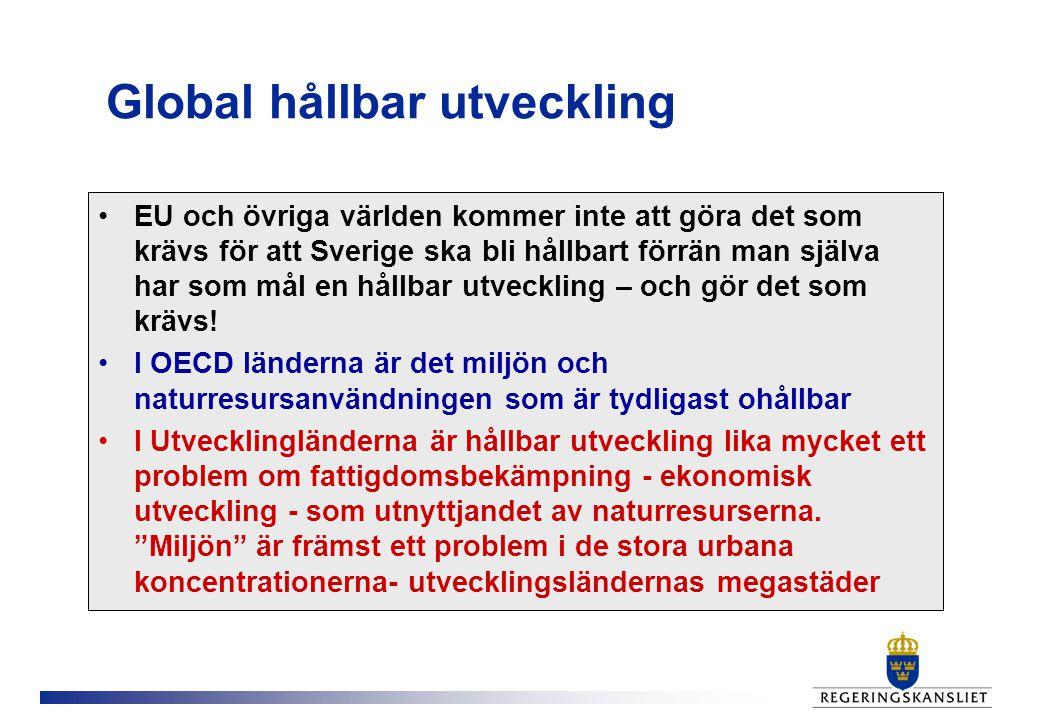 Global hållbar utveckling EU och övriga världen kommer inte att göra det som krävs för att Sverige ska bli hållbart förrän man själva har som mål en hållbar utveckling – och gör det som krävs.
