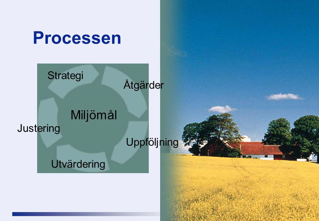 Processen Strategi Åtgärder Uppföljning Utvärdering Justering Miljömål